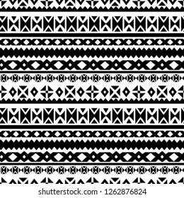 Ethnic seamless pattern. Tribal art  print. Folk abstract geometric repeating background texture. Fabric design in black and white