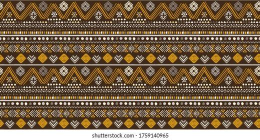 Ethnische nahtlose Muster. Stammeshintergrund. Geometrischer Vintage-Druck. Stoffdesign, Tapete