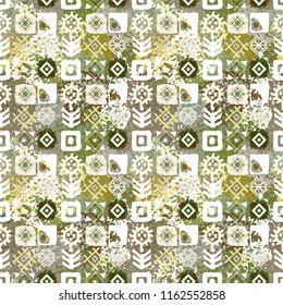 Ethnic seamless pattern. Vintage print. Abstract geometric background. Tile, patchwork. Fabric design, wallpaper