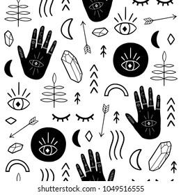 Ethnic seamless patterns with magic hands, moon, quatz, crystals, arrows, eye. Vector illustration