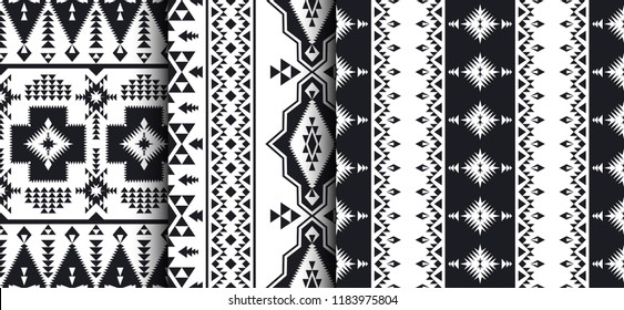 Ethnic seamless patterns. Native Southwest American, Indian, Aztec, Navajo print. Black and white geometric design.