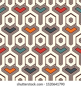 Ethnic seamless surface pattern. Repeated interlocking geometric figures. Tribal wallpaper. Native americans ornamental abstract background. Geo digital paper, textile print. Vector art
