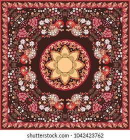 Ethnic shawl in russian style with magic birds, flowers, paisley frame and sun mandala. Beautiful vector illustration.