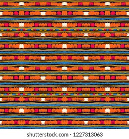 Ethnic strip. Tribal vector ornament. Seamless African pattern. Carpet with chevrons. Aztec style. Geometric mosaic on the tile. Ancient interior. Modern rug. Geo print on textile. Kente Cloth