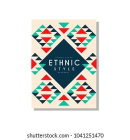 Ethnic style abstrat original design, ethno tribal geometric ornament, trendy pattern element for business card, logo, invitation, flyer, poster, banner vector Illustration