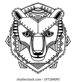 Ethnic style bear's head vector drawing. Isolated outlines