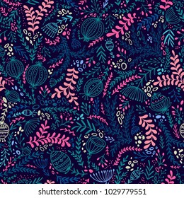 Ethnic style floral colorful seamless pattern. Can be printed and used as wrapping paper, wallpaper, textile, fabric, etc.