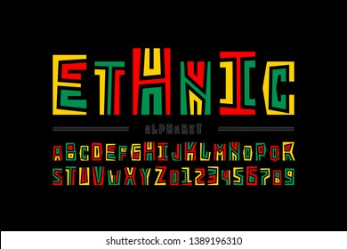 Ethnic style font design, alphabet letters and numbers, vector illustration