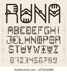Ethnic style font, runes alphabet, all letters and numbers, english abc, vintage typography, font design, decorative font