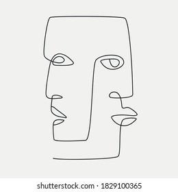 Ethnic style line-art face illustrations. Modern minimalist art prints.