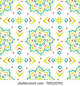 Ethnic style seamless pattern with hand drawn elements. Colorful elements on white background. Cross shaped and star shaped. Vector illustration