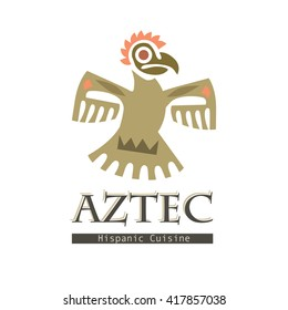 Ethnic style tribal graphic Aztecs bird icon vector illustration on white isolated background