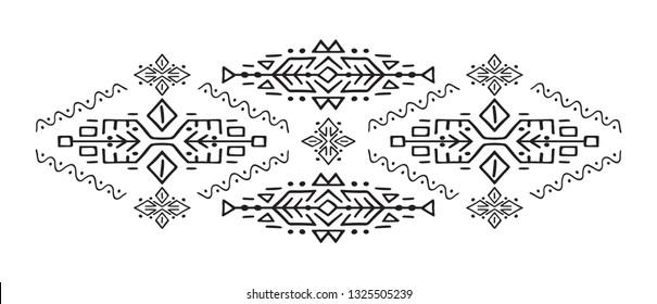 Ethnic style vector illustration African ornament Polynesian handicraft Scandinav embroidery