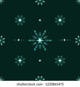 Ethnic style winter grunge snowflakes seamless background. Vector illustration.