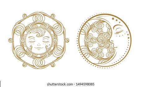 Ethnic sun and moon symbols. Temporary tattoo set.