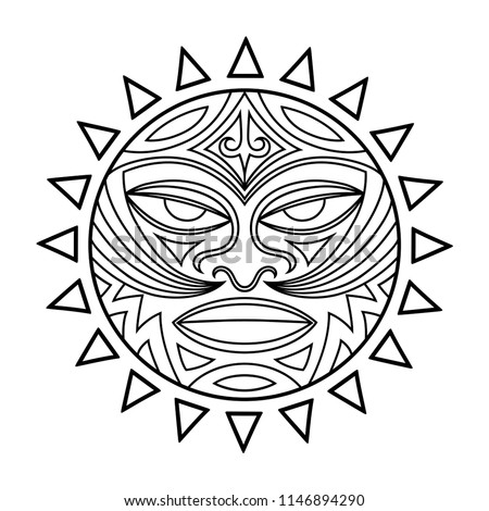 c3da0ea4c Ethnic symbol-mask of the Maori people. Thunder-like Tiki is symbol of God.  Sacral tribal sign in the Polenesian style for application of Tattoos and  Moko.