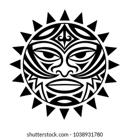 Ethnic symbol-mask of the Maori people - Tiki. Thunder-like is symbol of God. Sacrad tribal sign in the Polenesian style for application of Tattoos and Moko.