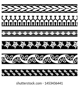 ethnic tribal border polynesian, tribal pattern tattoo, aboriginal samoan band, maori seamless art bracelets ornament, polynesian line tattoo pattern, maori black and white texture border