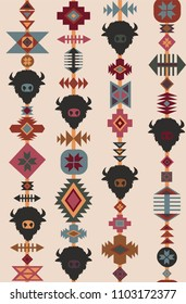 Ethnic tribal with buffalo silhouettes. Vector seamless pattern.
