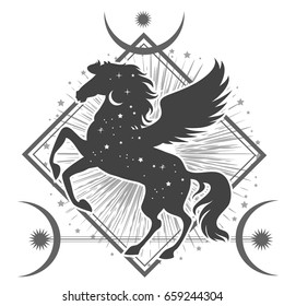 Ethnic tribal Horse. Spiritual, esoteric, totem animal symbol. For t-shirt, bag, postcard,and logo. Tattoo design
