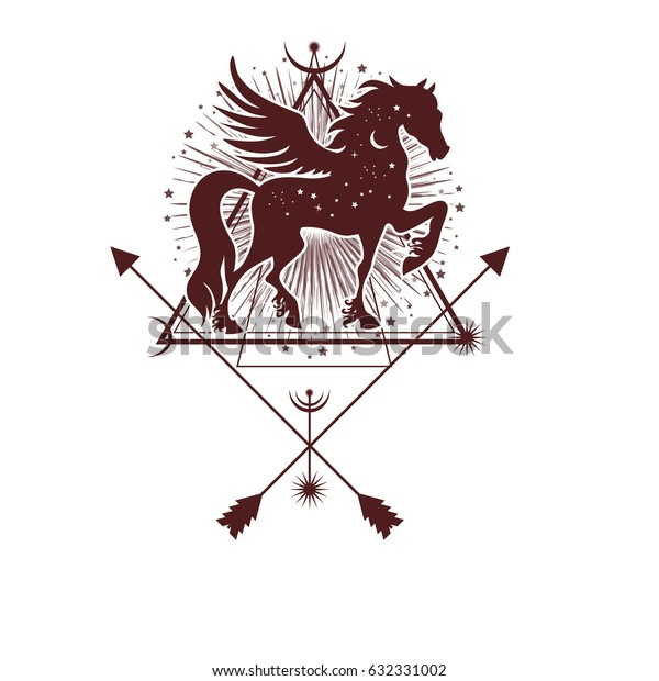 Ethnic tribal Horse. Spiritual, esoteric, totem animal symbol. For t-shirt, bag, postcard,and logo. Tattoo design