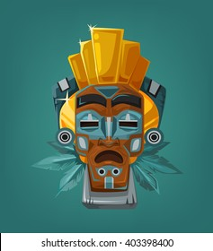 Ethnic tribal mask. Vector cartoon flat illustration