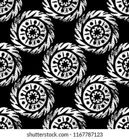 Ethnic, tribal, native circle, mandala. Hand drawn linocut. Geometric seamless pattern. African mexican indian oriental ornament. Black and white