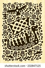 ethnic tribal native prehistoric warrior viking boat Scandinavia symbol