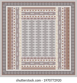 Ethnic tribal scarf pattern design. Silk scarves and hijab motif on gray color