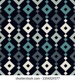 Ethnic, tribal seamless surface pattern. Repeated diamonds and rhombuses motif. Folk background. Folkloric wallpaper. Geometric ornament. Geo digital paper, textile print. Vector art