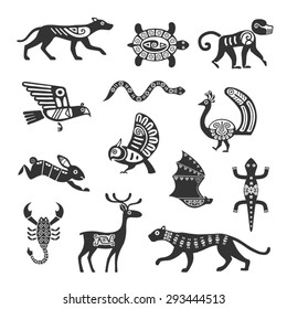 Ethnic tribal totem animal with patterns and ornaments.