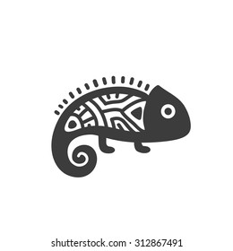 Ethnic tribal totem animal with patterns and ornaments. Chameleon.