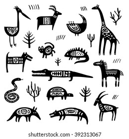 Ethnic tribal totem animal with patterns and ornaments