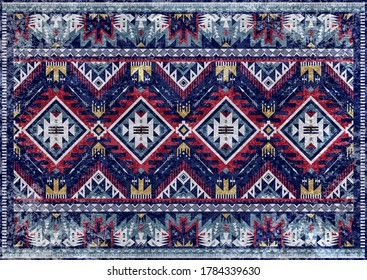 Ethnic tribal vector background with decorative folk elements. Aztec threadbare abstract geometric art print. Design for rug, tapis, blanket, wallpaper, cloth design, fabric, textile. Aging effect