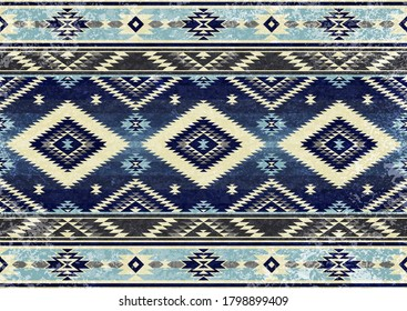 Ethnic tribal vector background with decorative folk elements. Aztec abstract geometric art print. Design for rug, tapis, blanket, wallpaper, cloth design, fabric, tissue, textile. Aging effect