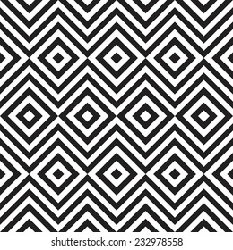 Ethnic tribal zig zag and rhombus seamless pattern. Vector illustration for beauty fashion design. Black white colors. Vintage stripe style.