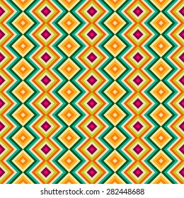 Ethnic tribal zig zag and rhombus seamless pattern. Vector illustration for beauty fashion design. Blue, orange, pink and yellow colors. Vintage stripe style.