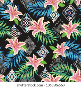 Ethnic tropical flower vector sealmess pattern