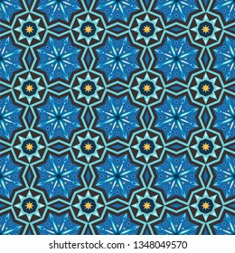 ethnic Vector seamless pattern, Stylish fabric print. Creative Design inspiration for batik or cloth,carpet,wallpaper,clothing,wrapping,Batik,textile background. blue Color