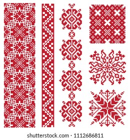 Ethnic vector seamless patterns isolated on white background