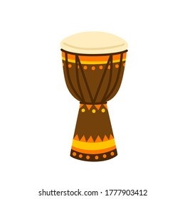 Ethnical colorful drum vector illustration. Brazilian or African beat musical instrument isolated on white background. Traditional tribal equipment for music playing. Craft wooden sound reproducer