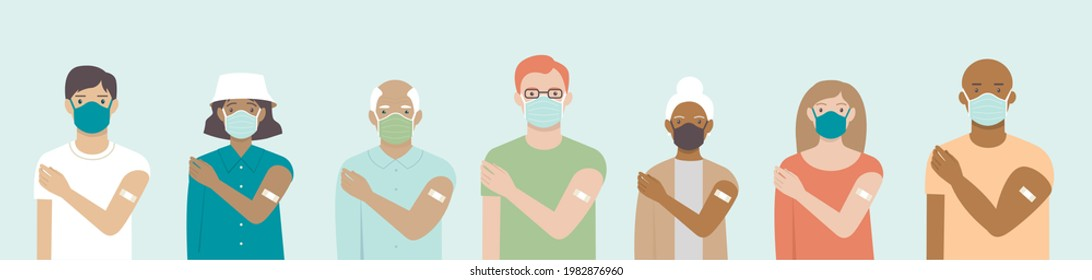 Ethnically diverse and mixed age group of people showing their shoulders with band-aids on after getting a vaccine. Set of multiracial characters. Team vaccinated. Vaccination campaign concept. vector