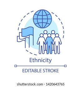 Ethnicity concept icon. Society, community idea thin line illustration. Unity in diversity vector isolated outline drawing. Racial, religious respect, human rights, democracy. Editable stroke