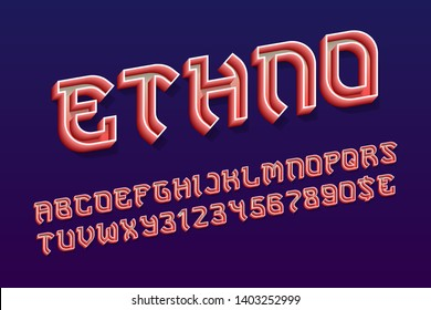 Ethno decorative letters with numbers and currency signs. 3d hollow red font. Isolated english alphabet.