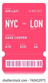 E-Ticket or Boarding Pass Card Template with Bar Code. Flight Ticket Pass Design. EPS 10