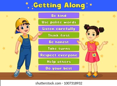 etiquette and education kids illustration