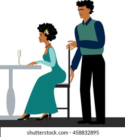 etiquette restaurant.take care of a woman.the chair to move up.gallant man courting a woman.dark skin