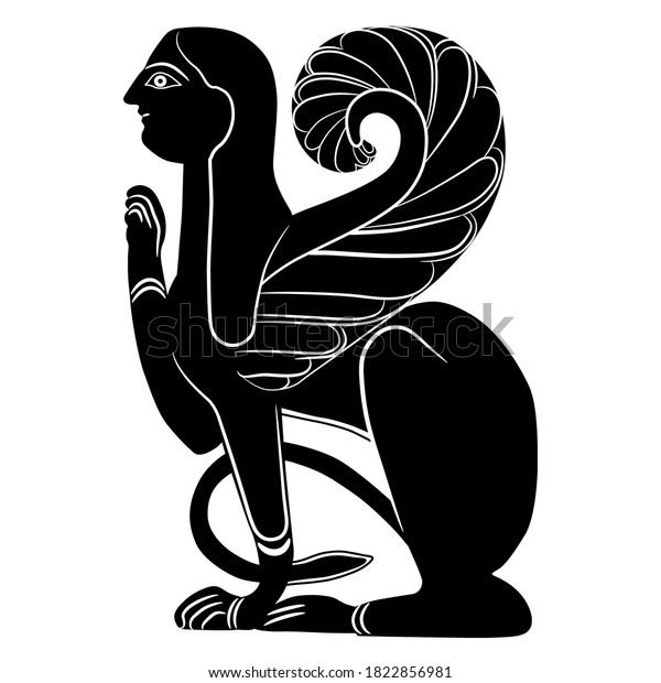 Etruscan female sphinx. Black and white silhouette. Fantastic mythological creature. Winged cat woman.