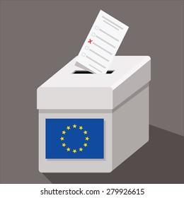 EU ballot box with ballot paper