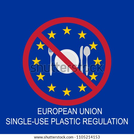 EU ban on plastic cutlery to reduce single-use litter. Vector.
